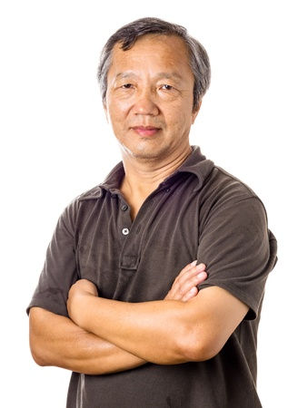 Asian mature man isolated over white background 版權商用圖片