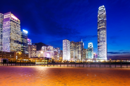 Central district in Hong Kong at night photo