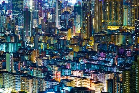 hong kong night: Residential building in Hong Kong