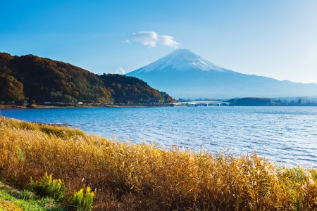 Mt. Fuji with lake in autumn photo