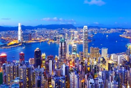 Hong Kong skyline di notte