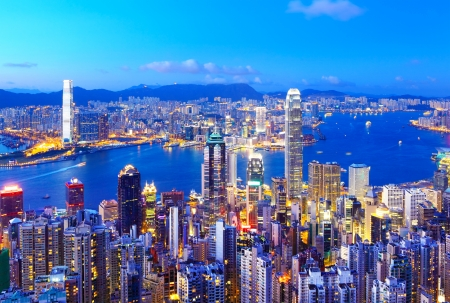 Horizonte de Hong Kong en la noche