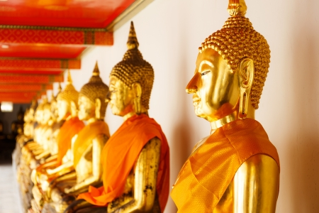 Golden Buddha in a row photo