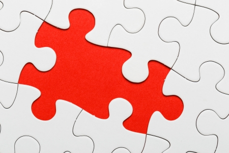 incomplete: Incomplete puzzle with missing piece Stock Photo