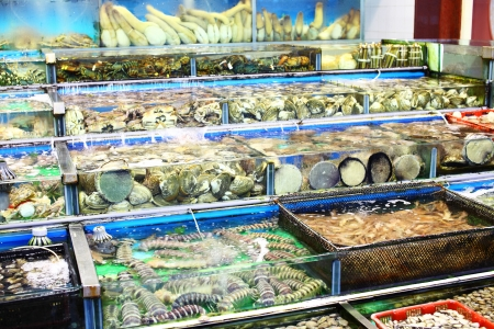 Seafood market fish tank in Hong Kong Stock Photo - 21707733