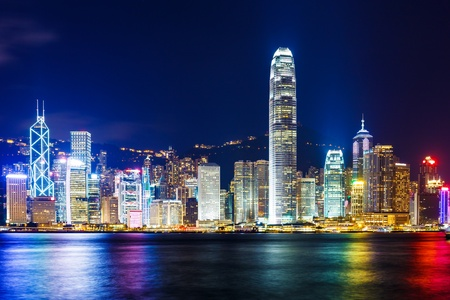 hong kong skyline: Hong Kong skyline at night