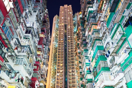overcrowded: Overcrowded residential building in Hong Kong Stock Photo
