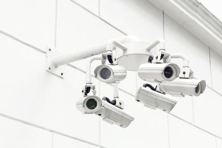 wall mounted: Wall mounted Surveillance camera Stock Photo