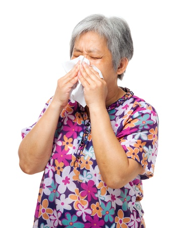 Sneezing asian elderly   photo