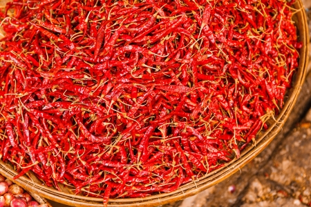 preservation: Preservation procedure of red Chili peppers on basket