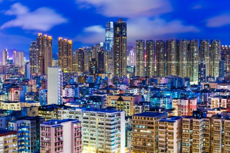sham: Residential district in Hong Kong at night Stock Photo