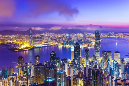 Horizonte de Hong Kong en la madrugada
