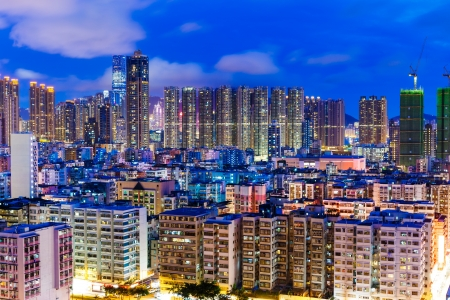 sham: Residential district in city at night Stock Photo