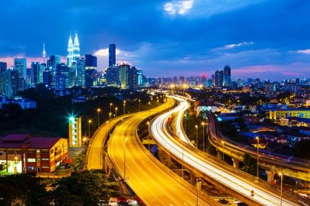 klcc: Kuala Lumpur skyline at night