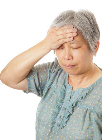 Asian old woman got headache photo
