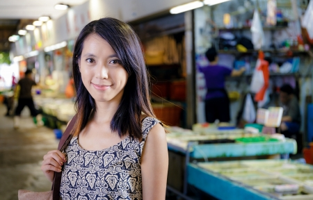 Hong Kong woman in wet market photo