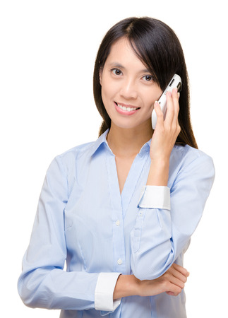 Asian business woman using mobile photo