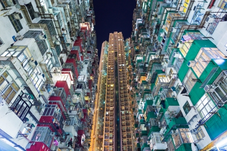 Overpopulated building in Hong Kong