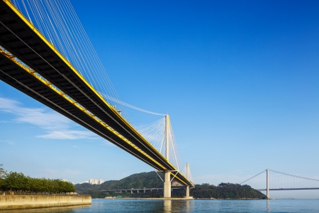 Ting Kau and Tsing Ma suspension bridge in Hong Kong photo