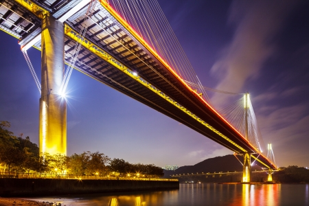 Ting Kau suspension bridge in Hong Kong at night  photo