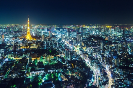 night view: Tokyo cityscape at night Editorial