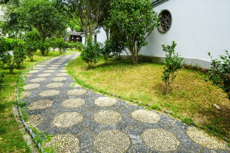 Pebble stone path in the chinese garden photo