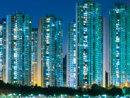 overpopulated: Residential district in Hong Kong