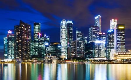 Singapore city skyline at night photo