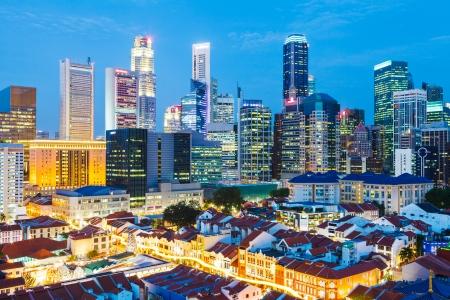 singapore city: Singapore city at night Stock Photo