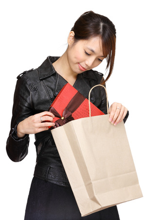 Asian woman bought a gift photo