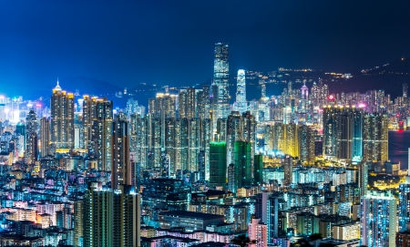 Cityscape in Hong Kong at night photo