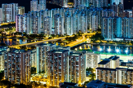 Hong Kong city at night Stock Photo - 22460064