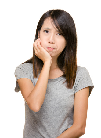 Asian woman with toothache photo