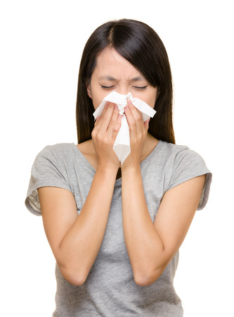 Sneezing asian woman Stock Photo - 22464033