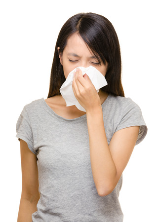Asian woman with allergic nose photo