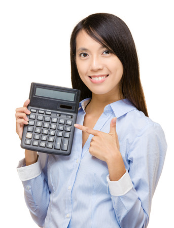 calculator chinese: Asian woman and calculator