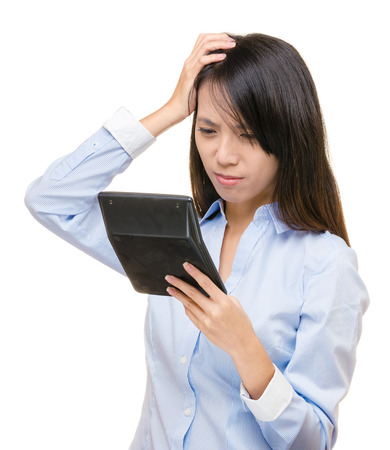 Asian woman go crazy about the calculation Stock Photo - 22464560