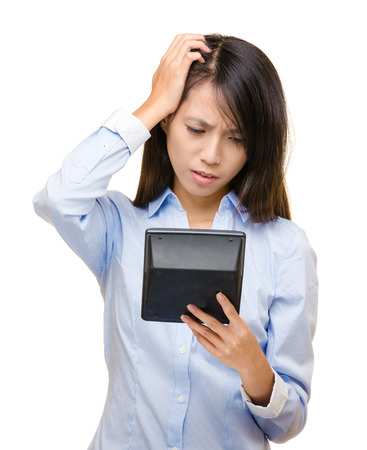 Asian woman go crazy about the calculation Stock Photo - 22464570