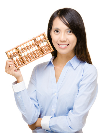 Asian woman and abacus photo