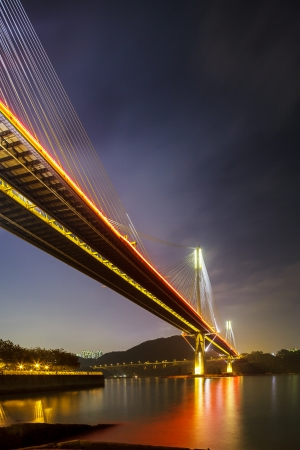 schlagbaum: Ting Kau Hängebrücke in Hong Kong Lizenzfreie Bilder