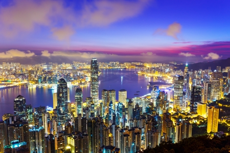Hong Kong skyline during sunrise