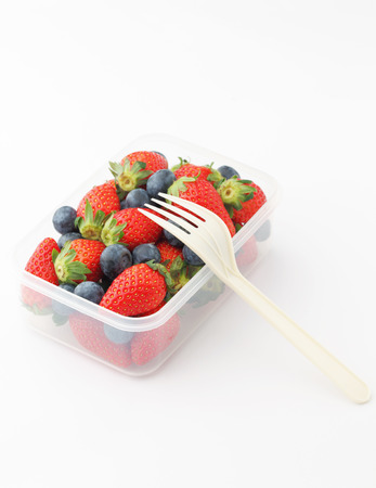 berry fruit: Strawberry and blueberry mix in lunch box