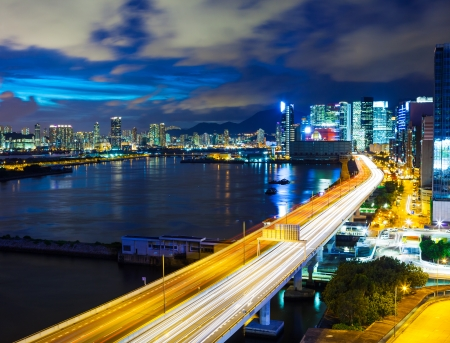 Hong Kong city with highway at night  photo