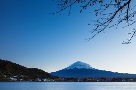 Mt. Fuji and lake photo