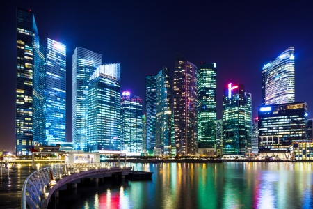 Singapore city skyline at night photo