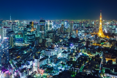 aerial view city: Tokyo skyline at night