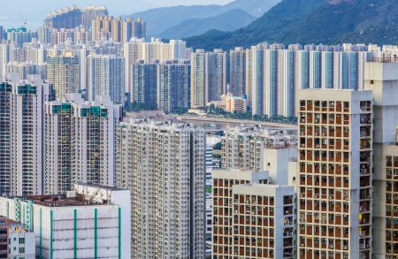 overpopulated: City in Hong Kong