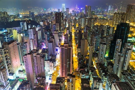 overpopulated: Hong Kong skyline at night