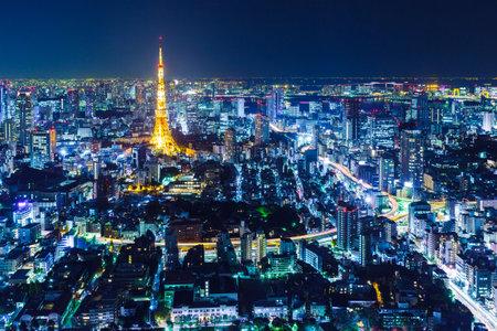 tokyo tower: Tokyo skyline at night