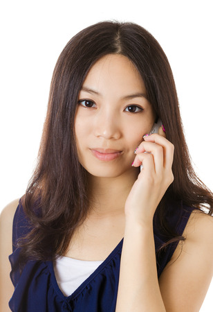 Asian woman talking with phone photo